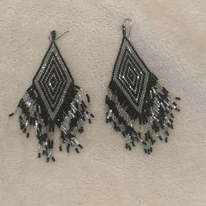 Silver & Black Dangle Statement Earrings
